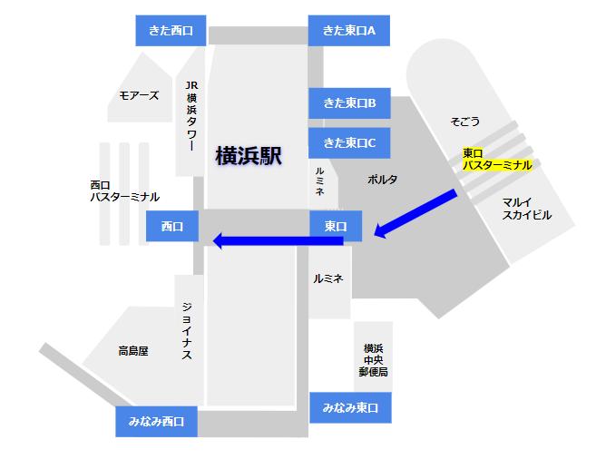 横浜駅東口バスターミナルから西口へ向かう