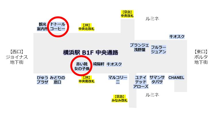 横浜駅中央通路の待ち合わせ場所