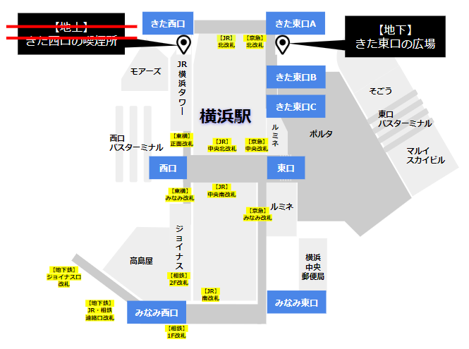 横浜駅の待ち合わせ場所(北エリア)