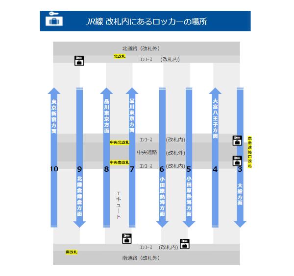 JR線横浜駅改札内のロッカーの位置