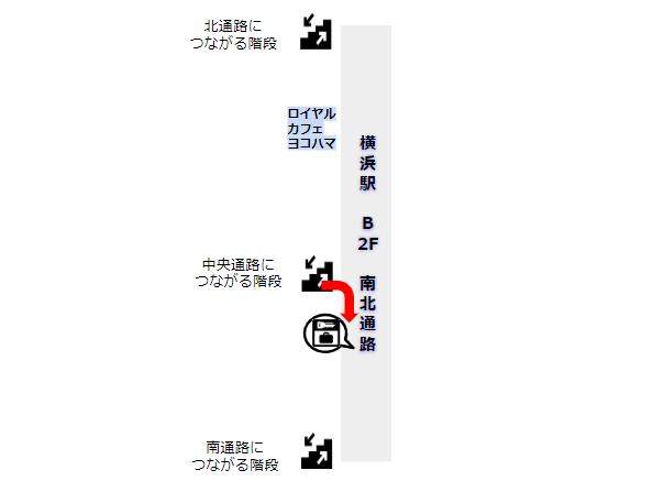 横浜駅の南北通路にあるロッカー群の場所