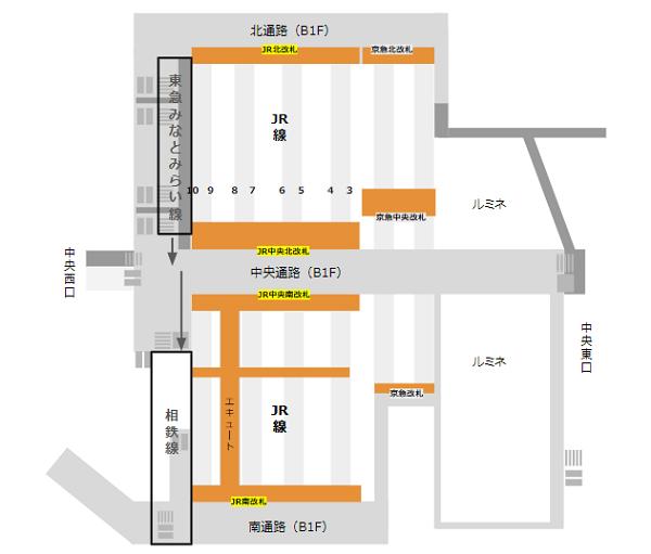 横浜駅乗り換え地図(東横/みなとみらい線から相鉄線)