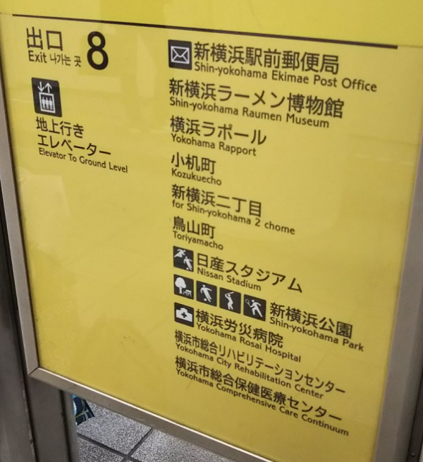 新横浜駅ホーム内の日産スタジアムへのナビ
