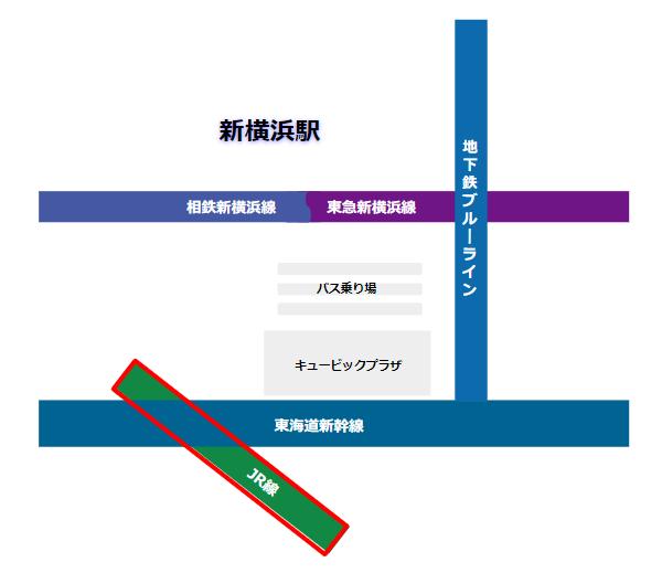 新横浜駅の構内図(JR横浜線)