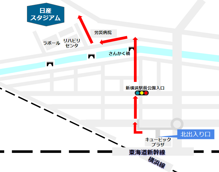 新横浜駅から日産スタジアムへの経路