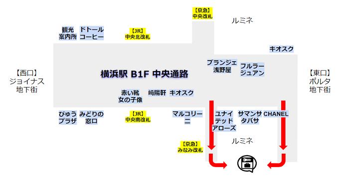 横浜駅のルミネ裏のロッカーへの行き方