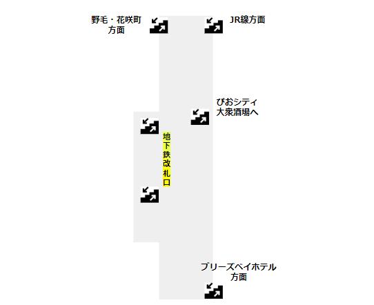桜木町駅構内図(地下鉄ブルーラインB3F)