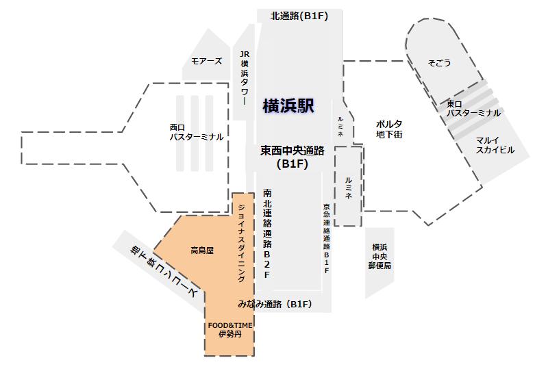 横浜駅地下街マップ(南側)