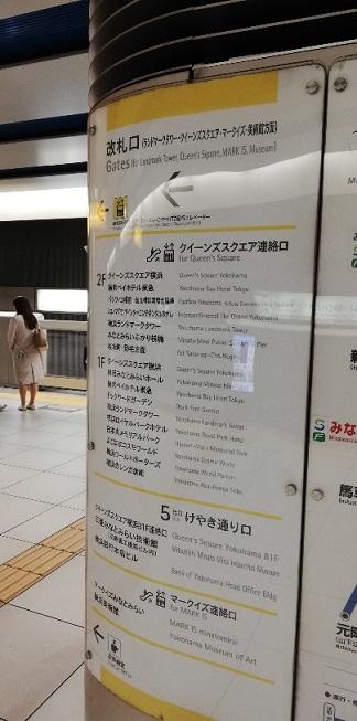 みなとみらい駅の改札出口ナビゲーション