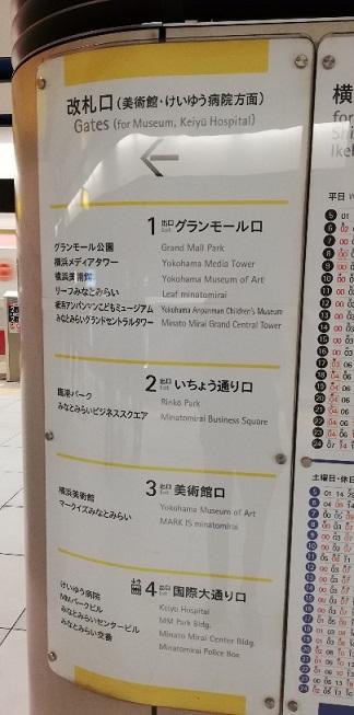 みなとみらい駅改札出口ナビゲーション