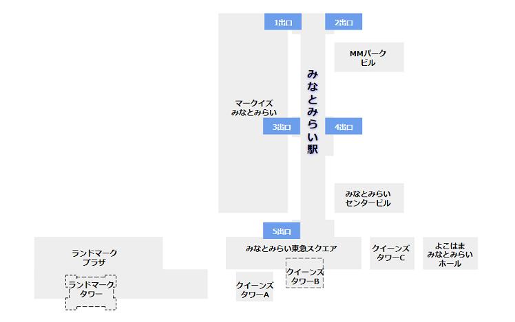 みなとみらい駅構内図(出口確認用)