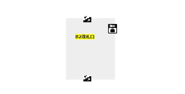 みなとみらい駅構内図(改札階、B2)