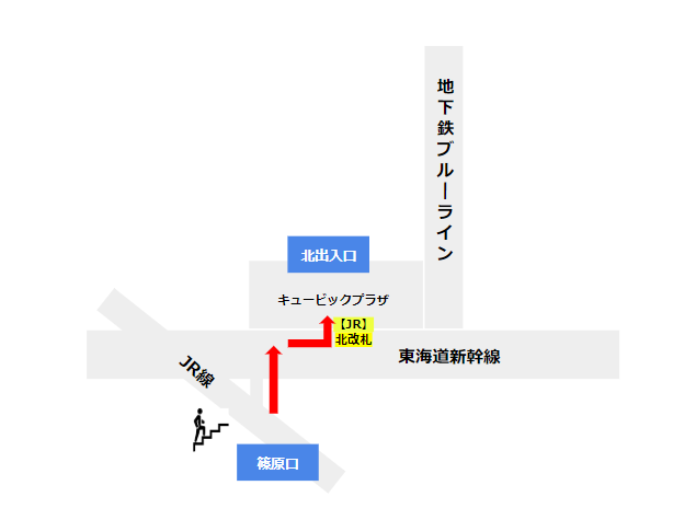 新横浜駅JR線からキュービックプラザ北出入口へ向う経路