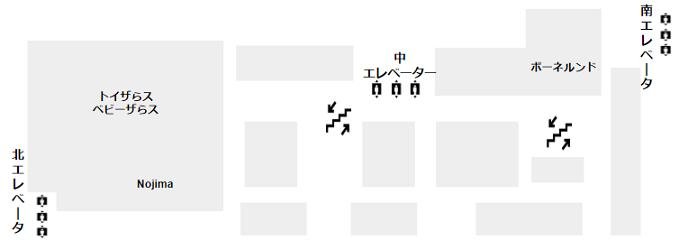 マークイズみなとみらい3F(キッズフロア、トイザらス、ボーネルンド)の概略図