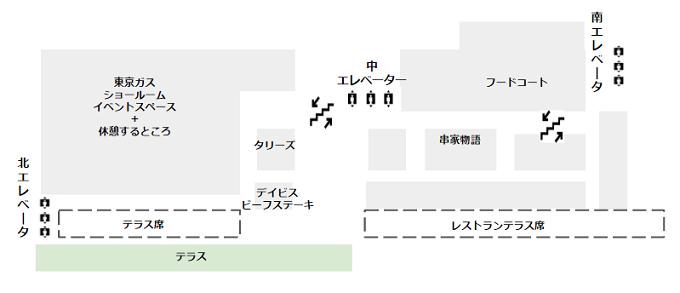 マークイズみなとみらい4F(レストラン、フードコート、東京ガス)の概略図