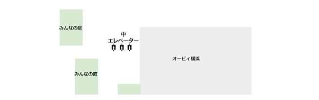 マークイズみなとみらい5F(オービィ横浜、みんなの庭)の概略図