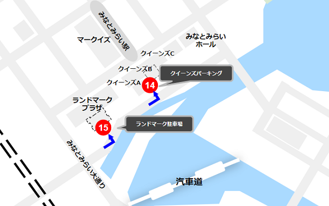 みなとみらいマークイズ周辺の駐車場マップ03