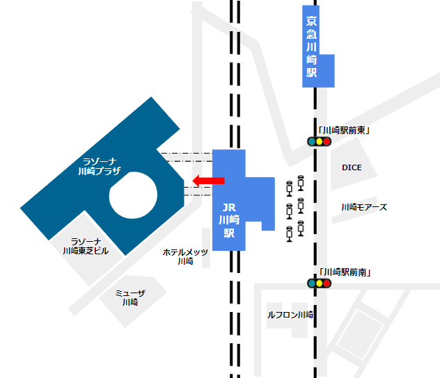 JR線川崎駅、中央改札からラゾーナ川崎への経路