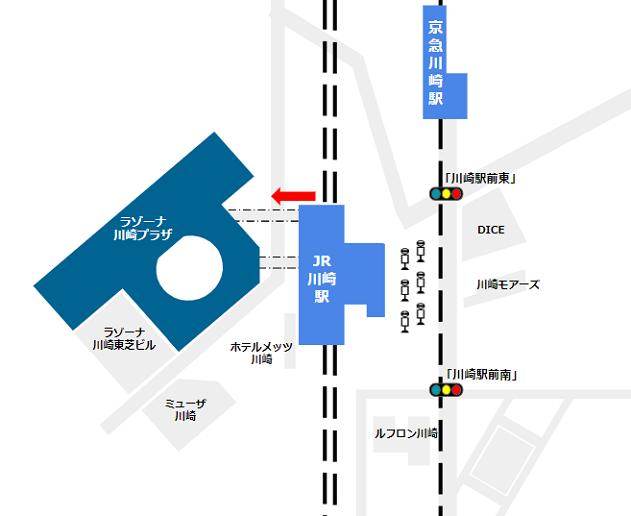 JR線北改札からラゾーナ川崎への経路