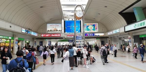 川崎駅の中央通路にある時計台(待ち合わせ場所)