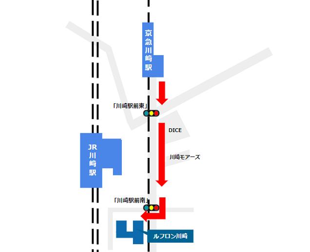 京急川崎駅から川崎ルフロンへの経路