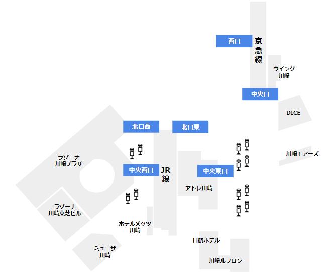 川崎駅の構内図(出口の位置)