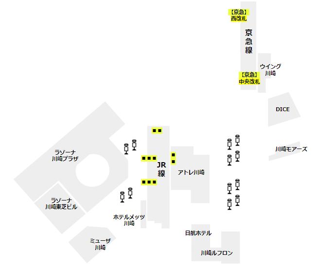 川崎駅の構内図(周辺施設と改札の位置関係)