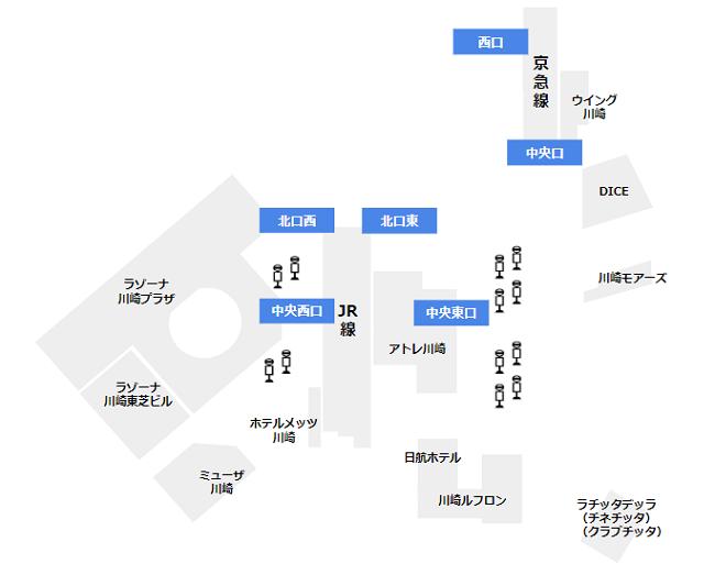 川崎駅の周辺にあるう商業施設一覧マップ