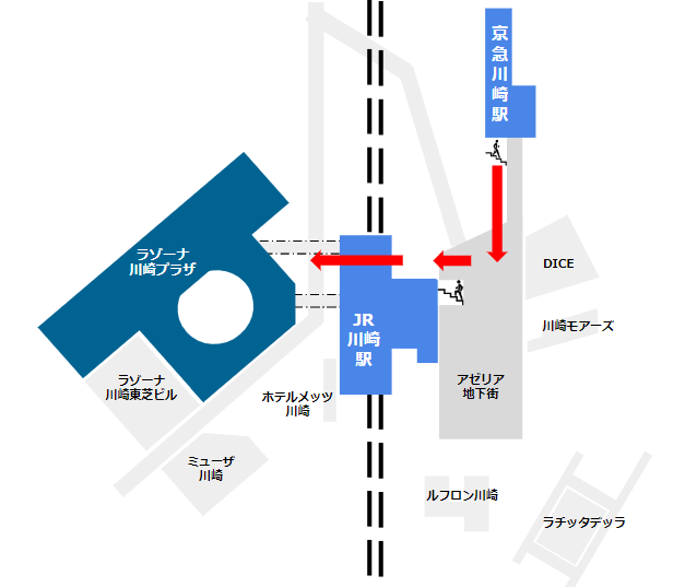 京急川崎駅から地下街アゼリア経由でラゾーナ川崎へ行く経路