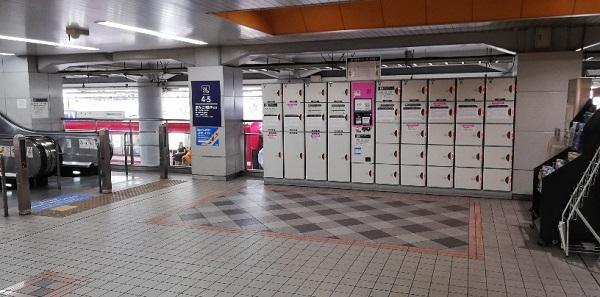 京急川崎駅の構内に設置されいるロッカー