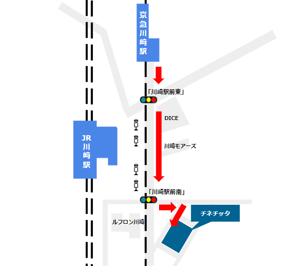 京急川崎駅の中央改札からチネチッタへの経路(地下街経由)