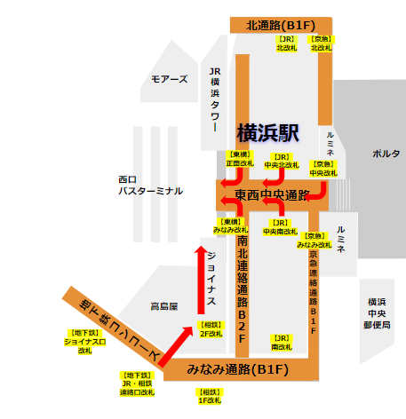 横浜駅西口バス乗り場への各路線からの経路