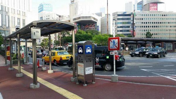 横浜駅の西口バスロータリー横のタクシー乗り場