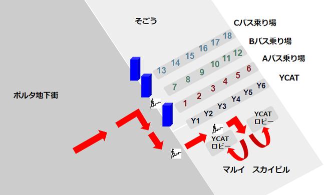横浜駅東口のスカイビル(YCAT)への経路