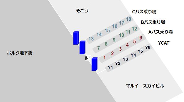 横浜駅東口のスカイビル内YCATの位置