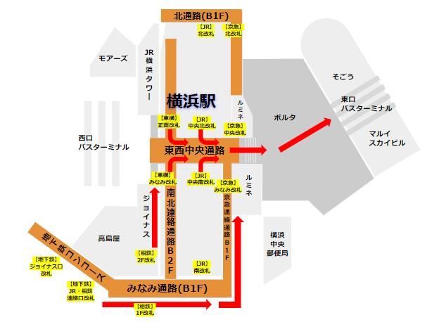 横浜駅の各路線改札から東口バス乗り場への経路