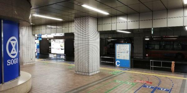 横浜駅東口のそごうビル内にあるバス乗り場