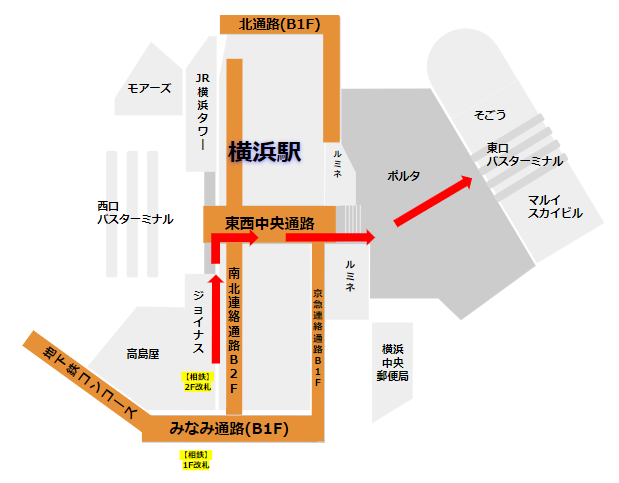 横浜駅相鉄線の2F改札口から東口バスターミナルまでの経路