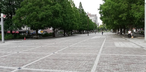 伊勢佐木長者町駅の前の大通り公園