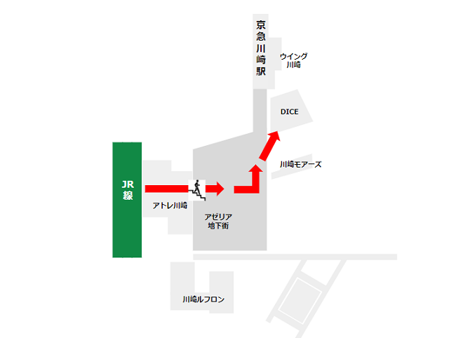 JR線川崎駅の中央改札から地下街アゼリア地下街通って川崎DICEへ