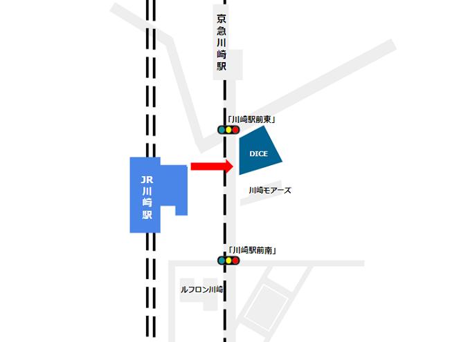 JR川崎駅の北改札から川崎DICEへの経路