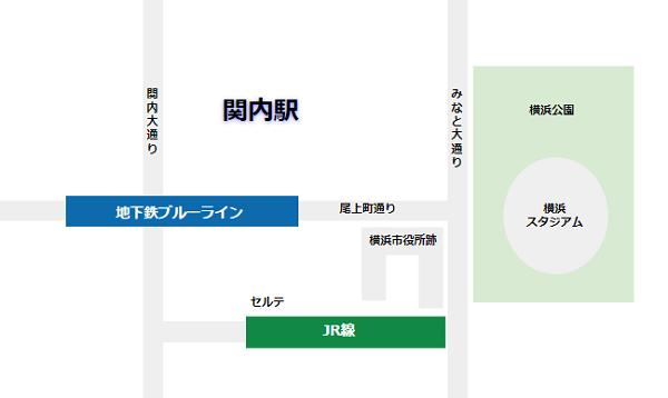 関内駅の構内図(路線と周辺施設の位置関係)