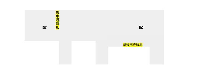 関内駅の構内図(地下鉄ブルーラインの改札階-B1F)