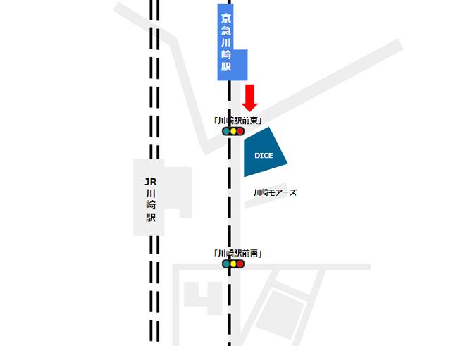 京急川崎駅から川崎DICEへの経路