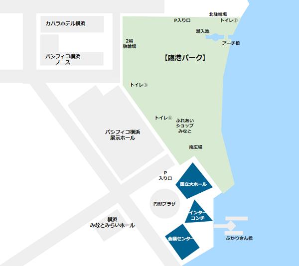 パシフィコ横浜施設郡map(国立大ホール、インターコンチネンタルホテル、会議センター)