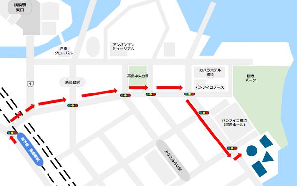 パシフィコ横浜への行き方-国立大ホール/インターコンチネンタルホテル(高島町駅からの経路)