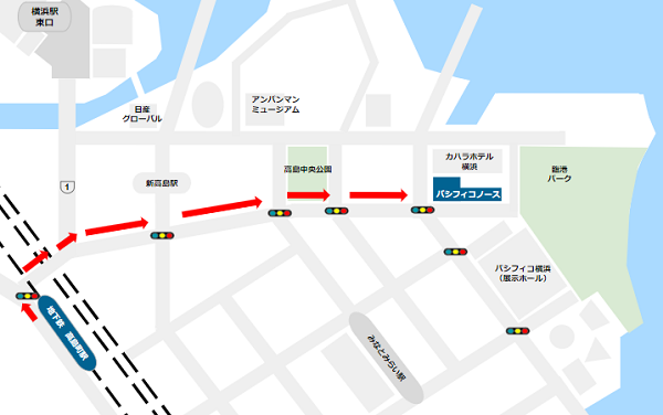 パシフィコ横浜ノースへの行き方(高島町駅からの経路)