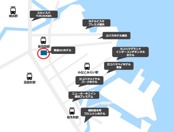 Zepp横浜周辺ホテルマップ