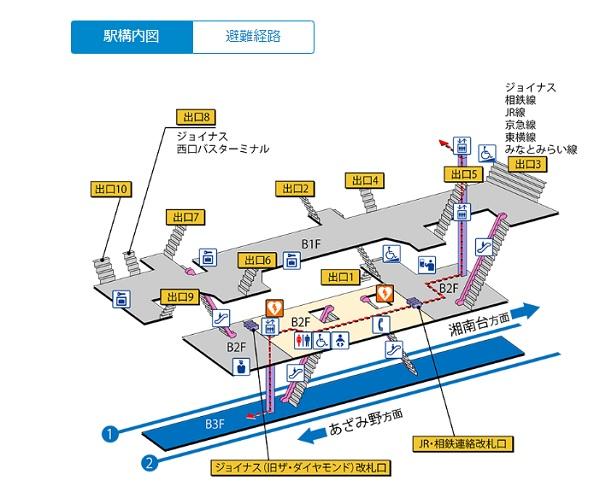 地下鉄ブルーライン横浜駅の構内図