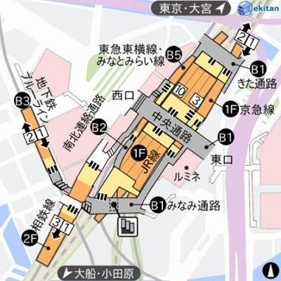 駅探提供の横浜駅の構内図
